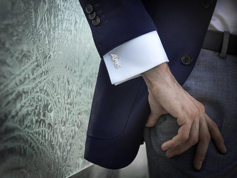 Initials Cufflinks for Groom Monogram Cufflinks Wedding gift for fiance Personalized Cufflinks