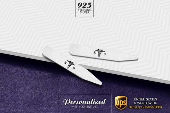 2.5 Inch Metal Collar Stiffeners Made In USA MODERN GOODS SHOP Stainless Steel Collar Stays With Laser Engraved Target Design