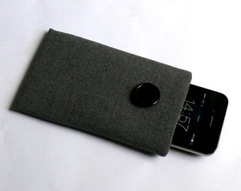 Fabric Padded Phone X Case, iPhone 8 Sleeve, iPhone 7 Case, iPhone 6 / 6S Padded Pouch, iPhone SE/ 5/ 5S Case Cover - Grey Wool / Handmade