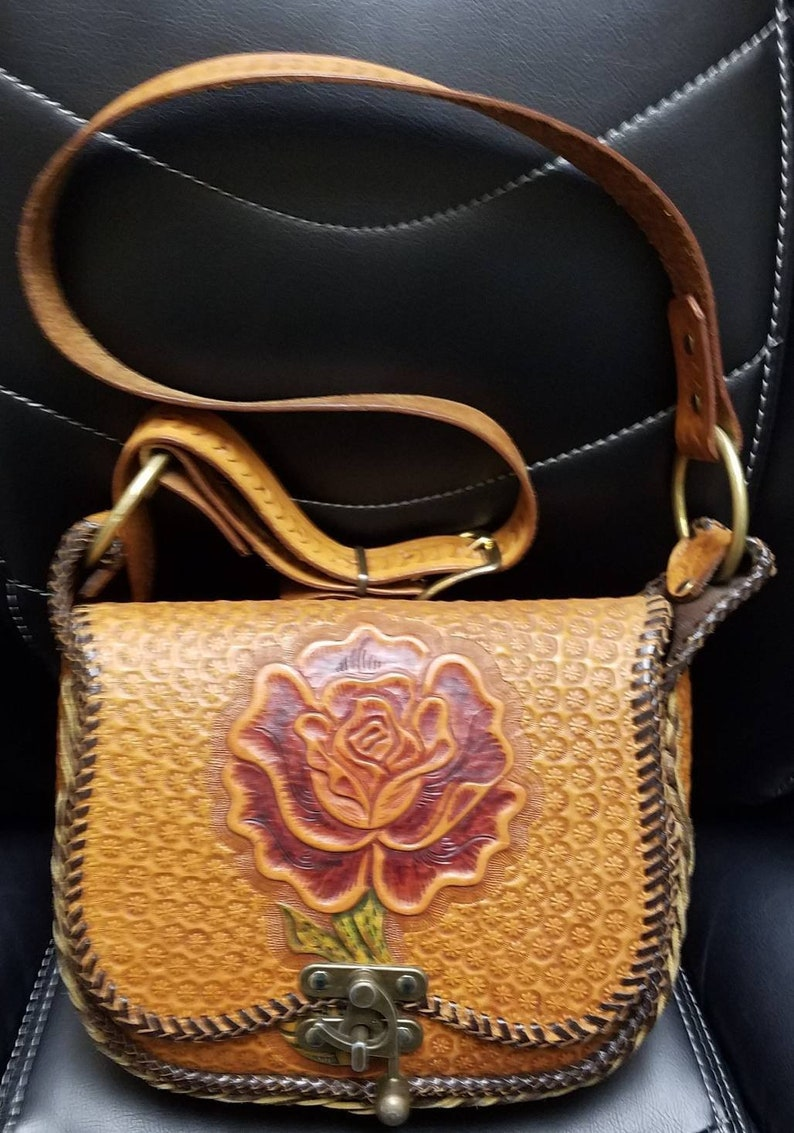776b94d591 Vintage Rose tooled leather purse Free Shipping