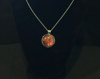 Tree of Life Pendant Necklace Red/Blue