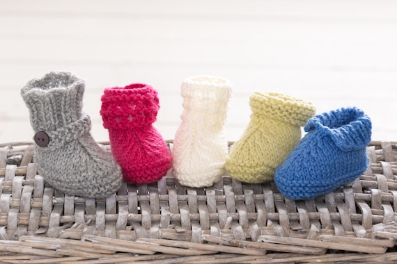 Five Styles Easy Baby Booties Quick Knitting Pattern Babies Etsy
