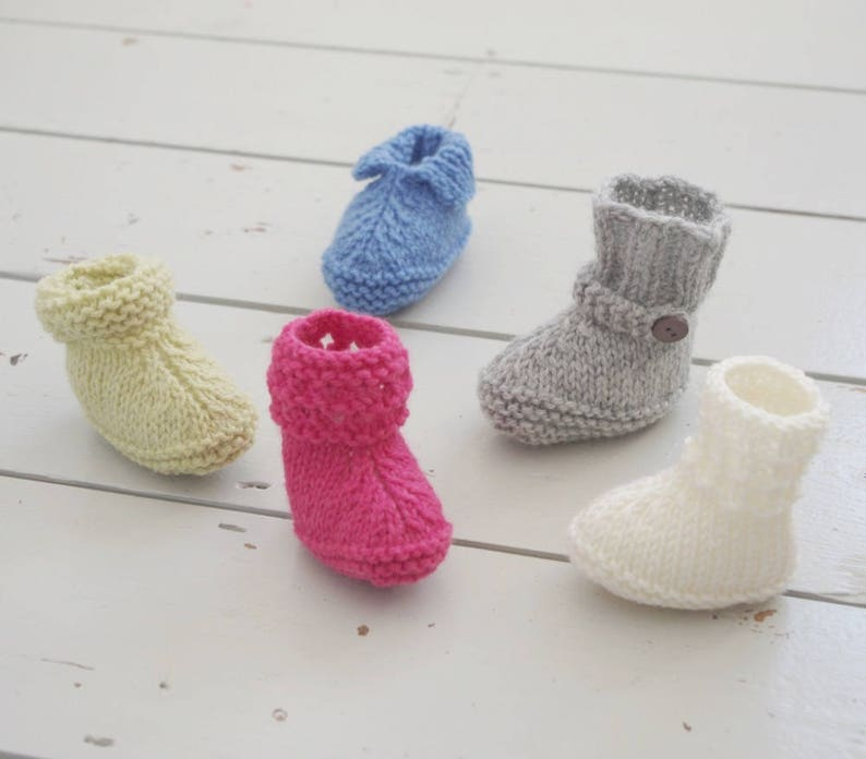 94ff1f90c55 Five Styles Easy Baby Booties Quick Knitting Pattern Babies Shoes Simple  Boots Gift Instructions Tutorial