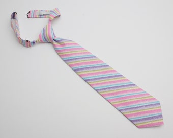 Multi-Color Striped Neck Tie With Adjustable Strap