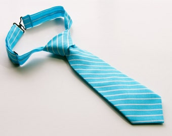 Blue & White Striped Neck Tie With Adjustable Strap