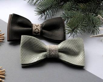 Mens bow tie white bow tie Latvian bow tie Pre tied bow tie Snake bow tie  Womens bow tie Grooms necktie Wedding necktie Leather bow tie df8a86be66