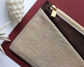 Leather pouch / Leather coin purse / Zipper pouch / Genuine leather / Brown Beige leather / Wallet change purse / Card holder / Clutch bag
