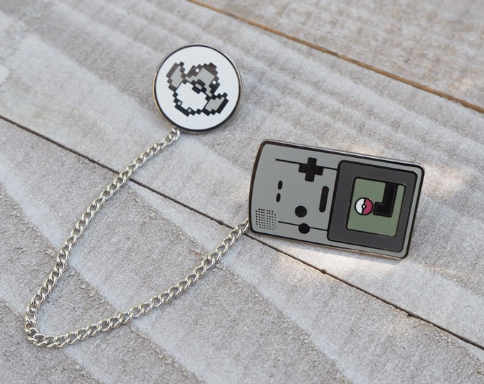 Gray | Gameboy Color Link & Sprite Pokemon Inspired Hard Enamel Collar Pin Set | Hand Made Pin | Pokemon Pin
