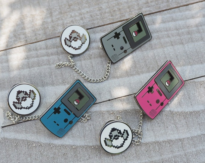 Set of (3) Gray, Blue, and Pink | Gameboy Color Link & Sprite Pokemon Inspired Hard Enamel Collar Pin Set | Hand Made Pin | Pokemon Pin