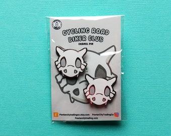 Cubone Skull | 2 Pins | Cycling Road Biker Club Pokemon Inspired Enamel Pin | Hand Made Pin | Pokemon Pin