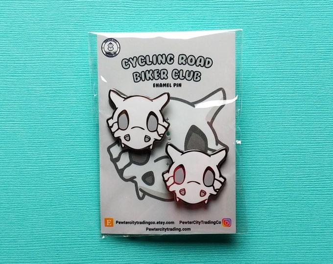 Cubone Skull   2 Pins   Cycling Road Biker Club Pokemon Inspired Enamel Pin   Hand Made Pin   Pokemon Pin