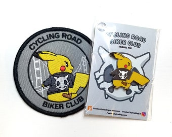Cycling Road Biker Club Pokemon Inspired Iron-on Patch & Hard Enamel Pin Set | Pokemon Pin | Pokemon Patch