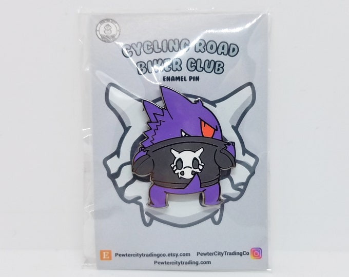 Gengar | Cycling Road Biker Club Pokemon Inspired Enamel Pin | Hand Made Pin | Pokemon Pin