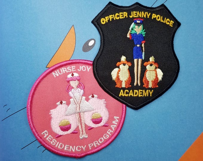 Set of Both Nurse Joy Residency Program (Pink) & Officer Jenny Police Academy Pokemon Inspired Patches | Hand Made Patches | Pokemon Patches