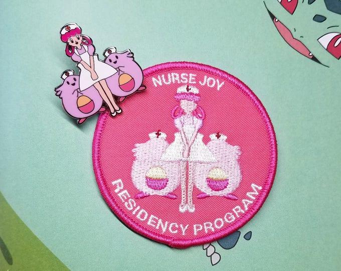 Set of Both Nurse Joy Residency Program Embroidered Patch (Pink) & Hard Enamel Pin | Hand Made Pin | Pokemon Pin