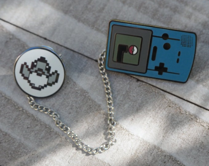 Blue | Gameboy Color Link & Sprite Pokemon Inspired Hard Enamel Collar Pin Set | Hand Made Pin | Pokemon Pin