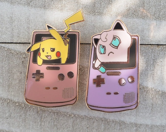 Im Stuck! Jigglypuff & Pikachu in Gameboy Discounted Pokemon Inspired Hard Enamel Pin Set | Hand Made Pin | Pokemon Pin