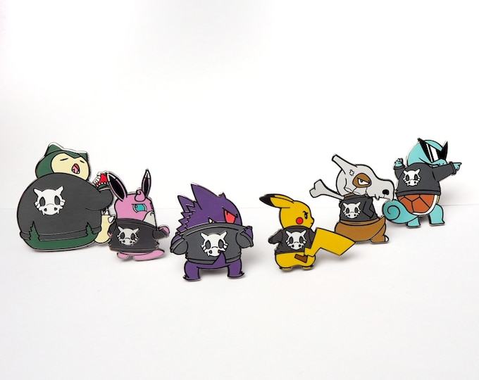 Full Set of 6 | Cycling Road Biker Club Pokemon Inspired Enamel Pins | Hand Made Pins | Pokemon Pins