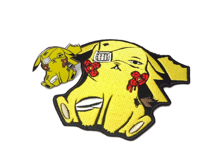 Pikachu (OG Color Variant) | Discounted Where's Nurse Joy Collection Pokemon Inspired Patch & Pin Set | Pokemon Pin | Pokemon Iron-on Patch