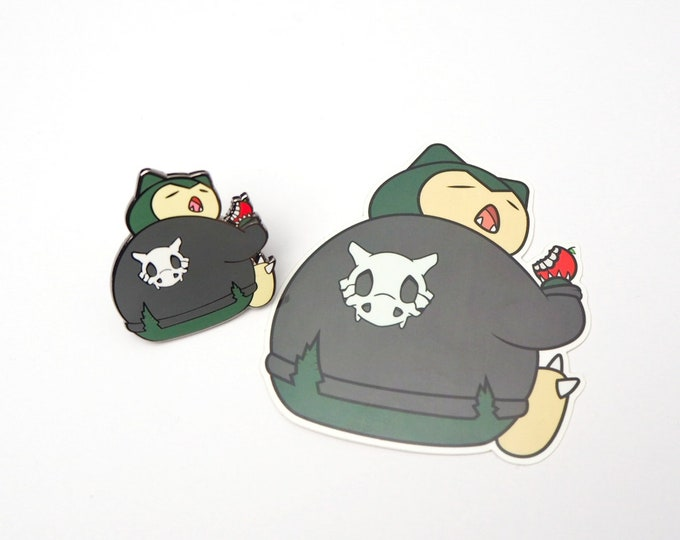 Snorlax | Cycling Road Biker Club Pokemon Inspired Enamel Pin & Sticker Set | Hand Made Pin | Pokemon Pin
