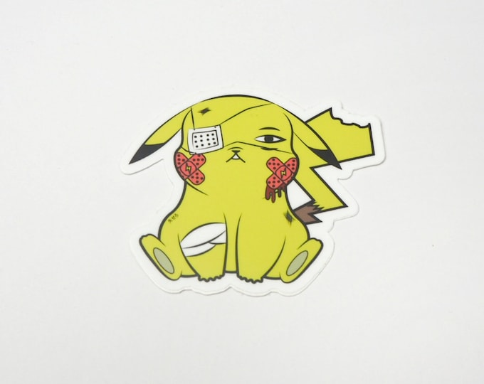 Pikachu (OG Color)   Where's Nurse Joy Collection Pokemon Inspired Sticker   Hand Made Sticker   Pokemon Sticker
