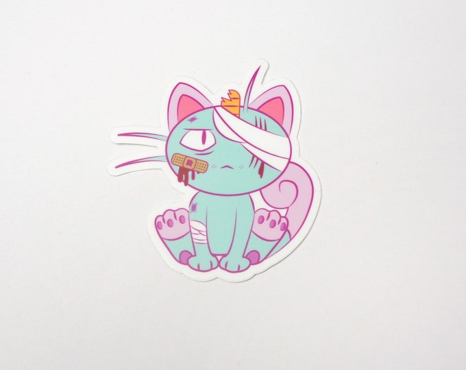 Meowth (Blue) | Where's Nurse Joy Collection Pokemon Inspired Sticker | Hand Made Sticker | Pokemon Sticker