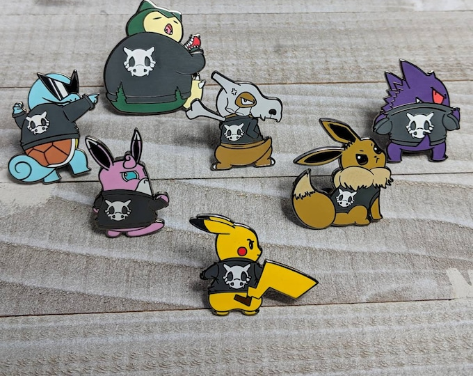 Full Set of 7 | Cycling Road Biker Club Pokemon Inspired Enamel Pins | Hand Made Pins | Pokemon Pins