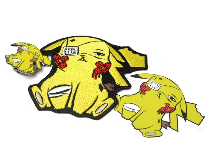 Pikachu (OG Color Variant) | Discounted Where's Nurse Joy Collection Pokemon Inspired Patch, Pin, & Sticker Set | Pokemon Pin |