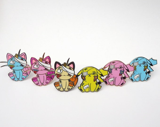 Pikachu & Meowth (Discounted Complete Collection Set) | Where's Nurse Joy Collection Pokemon Inspired Enamel Pins | Pokemon Pins