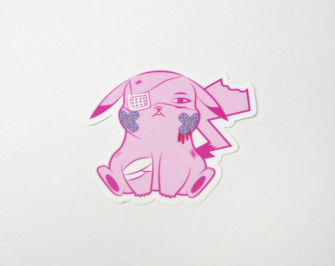 Pikachu (Pink) | Where's Nurse Joy Collection Pokemon Inspired Sticker | Hand Made Sticker | Pokemon Sticker