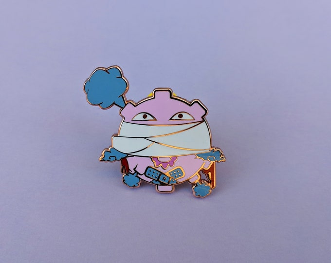 Koffing (Pink)   Where's Nurse Joy Collection Pokemon Inspired Enamel Pin   Hand Made Pin   Pokemon Pin