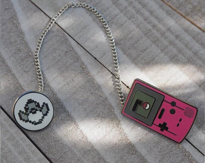 Pink   Gameboy Color Link & Sprite Pokemon Inspired Hard Enamel Collar Pin Set   Hand Made Pin   Pokemon Pin