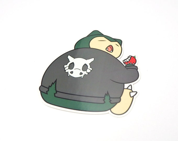 Cycling Road Biker Club Snorlax Pokemon Inspired Sticker | Hand Made Sticker | Pokemon Sticker