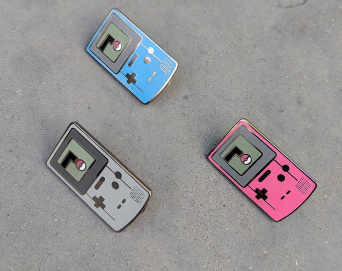 Gray, Blue, and Pink| Discounted set of 3 Gameboy Color Pokemon Inspired Hard Enamel Pins | Hand Made Pin | Pokemon Pin