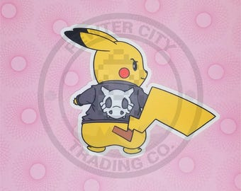 Cycling Road Biker Club Pikachu Pokemon Inspired Sticker | Hand Made Sticker | Pokemon Sticker