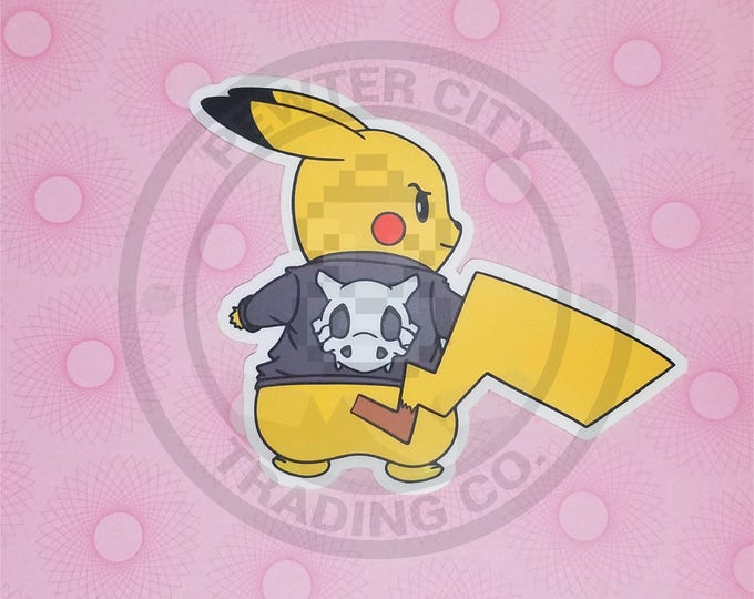 Cycling Road Biker Club Pikachu Pokemon Inspired Sticker | Hand Made Sticker | Pokemon Sticker