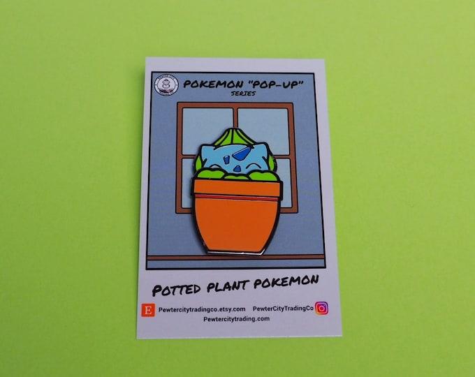 Bulbasaur   Potted Plant Pokemon Inspired Sliding Enamel Pin   Hand Made Pin   Pokemon Pin