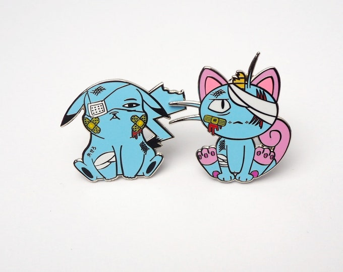 Pikachu & Meowth (Discounted Blue Color Set) | Where's Nurse Joy Collection Pokemon Inspired Enamel Pins | Hand Made Pins | Pokemon Pins