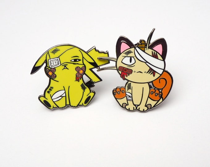 Pikachu & Meowth (Discounted OG Color Set) | Where's Nurse Joy Collection Pokemon Inspired Enamel Pins | Hand Made Pins | Pokemon Pins