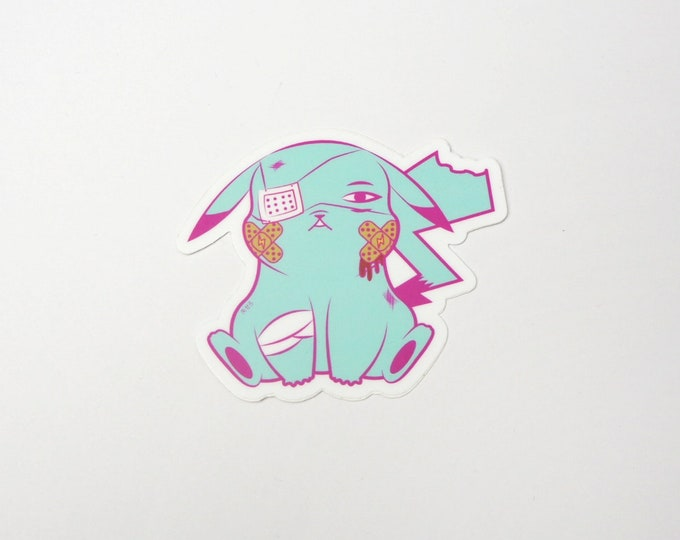 Pikachu (Blue) | Where's Nurse Joy Collection Pokemon Inspired Sticker | Hand Made Sticker | Pokemon Sticker