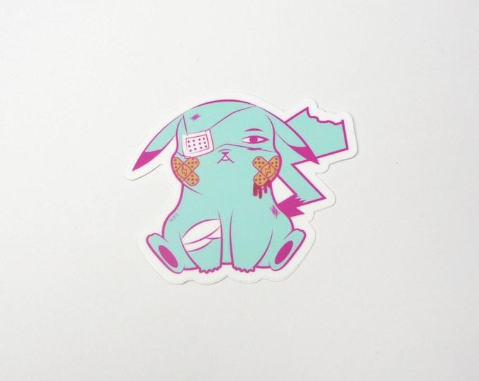 Pikachu (Blue)   Where's Nurse Joy Collection Pokemon Inspired Sticker   Hand Made Sticker   Pokemon Sticker