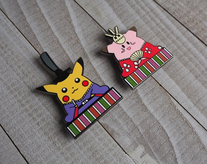 Discounted Pokedoll Pin Set | Pokemon Inspired Enamel Pin | Hand Made Pin | Pokemon Pin
