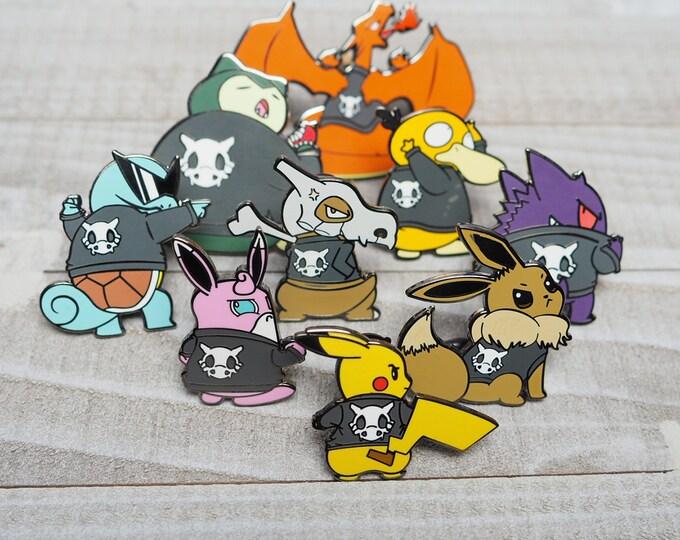 Full Set of 9 | Cycling Road Biker Club Pokemon Inspired Enamel Pins | Hand Made Pins | Pokemon Pins