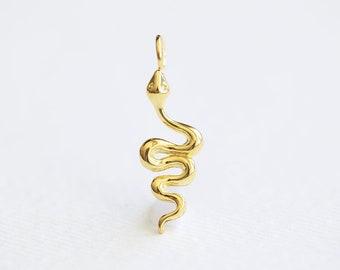 6 Snake pendants antique silver tone A58