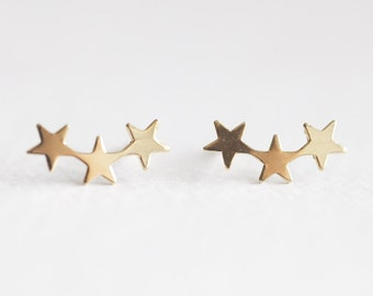 bf7d01c22 Gold Filled Star Ear Climber - 14k gold filled, 14k gf 21 gauge 4x14mm 3  stars, three shooting star stud earrings, delicate trendy, luxem