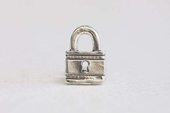 Sterling Silver Padlock Charm 925 Silver Safe Lock Symbol Etsy