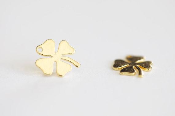 3a3895e2e Lucky Clover Vermeil Gold Charm small four leaf clover | Etsy