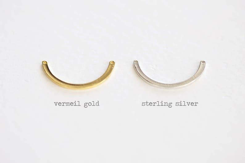 half circle 18k gold plated on 925 silver arc luxem jewelry findings round bar Vermeil Gold Bow Connector link spacer connector