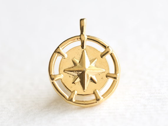 shiny gold circle disc Vermeil,18k gold over 925 sterling silver Small Compass Charm north south east west direction navigation
