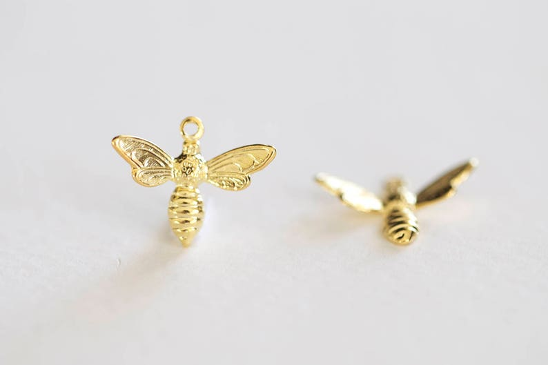 7c0c1ad3921ee Shiny Gold Bumble Bee Charm - vermeil 18k gold plated over 925 sterling  silver, insect nature charm, sweet honey bee, yellow jacket, hornet